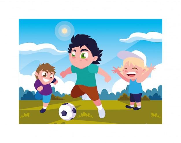 Nette jungen, die draußen fußball spielen Premium Vektoren