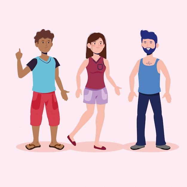 Nette jungen und mädchen, die mit freizeitkleidung sprechen Premium Vektoren