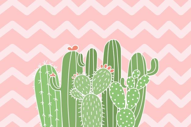 Nette kaktusillustration auf zickzackhintergrund. Premium Vektoren