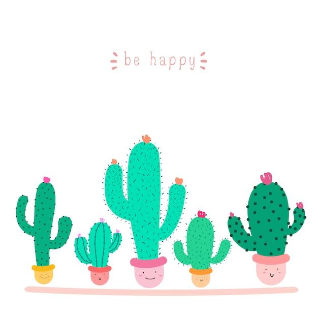 Nette kaktuspflanze mit glücklichen gesichtern in den töpfen Premium Vektoren