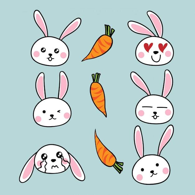 Nette kaninchenkarikatur mit karotten Premium Vektoren