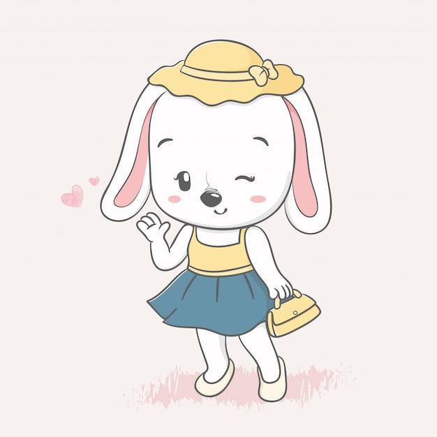 Nette kaninchenmädchen-karikaturhand gezeichnet Premium Vektoren