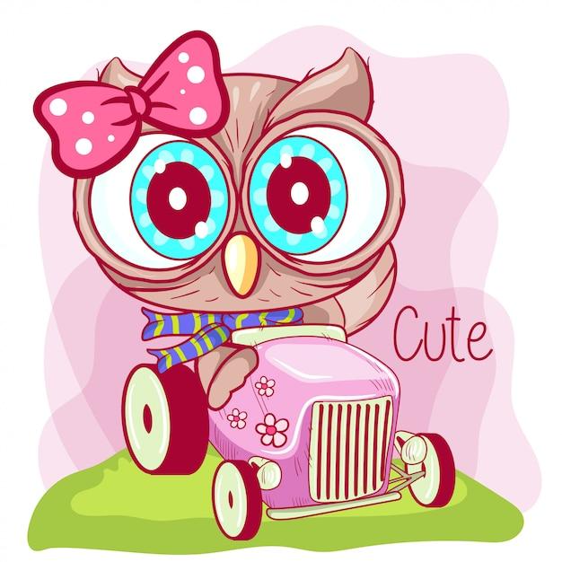 Nette karikatureule geht auf ein rosa auto Premium Vektoren