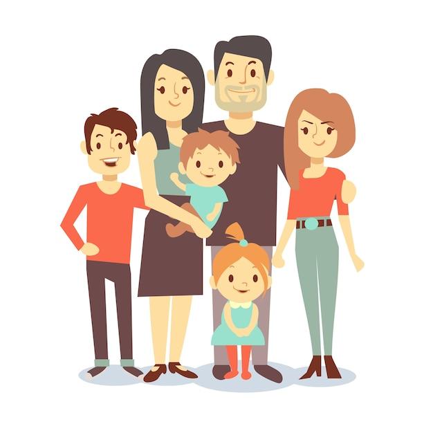 Nette karikaturfamilienmutter und -vati, vektorcharakterfamilie in der zufälligen kleidung, im vater und in der mutter mit Premium Vektoren