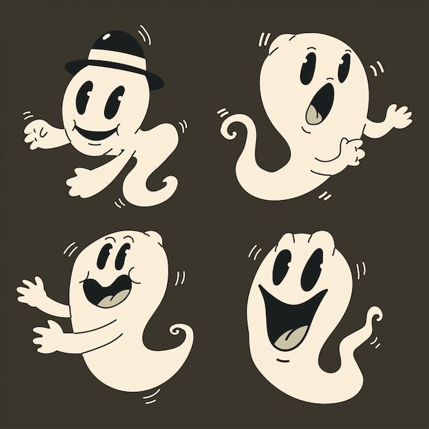 Nette karikaturgeister eingestellt. lustiges weinlesecharakter-monster halloweens an lokalisiert. Premium Vektoren