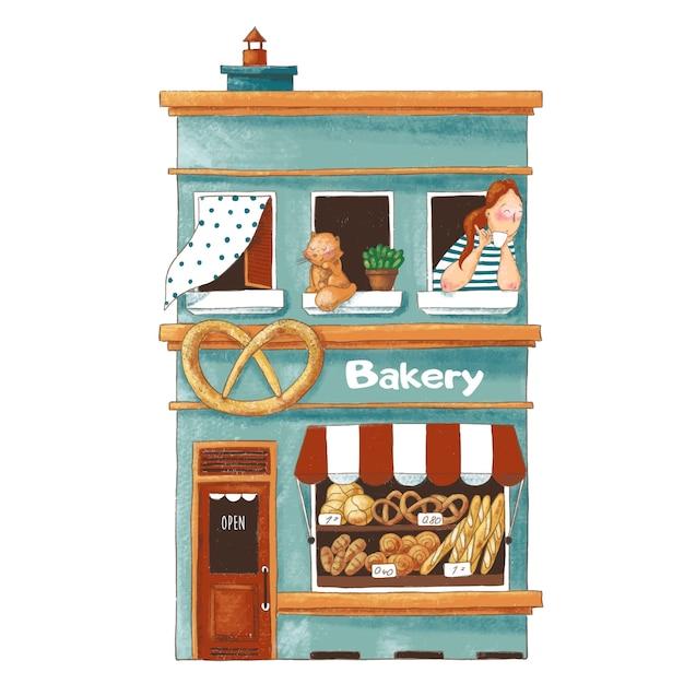 Nette karikaturillustration der bäckerei Premium Vektoren