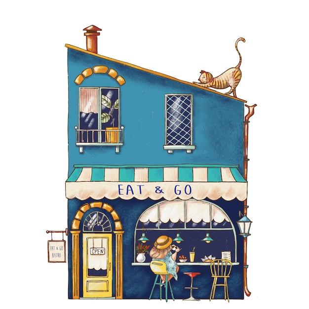 Nette karikaturillustration des bistrohauses Premium Vektoren