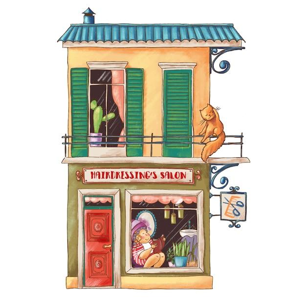 Nette karikaturillustration des frisörsalons Premium Vektoren