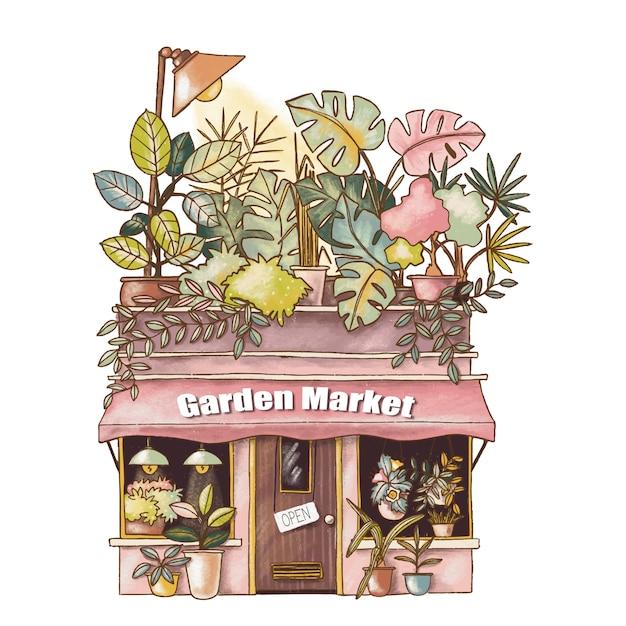Nette karikaturillustration des gartenmarkthauses Premium Vektoren