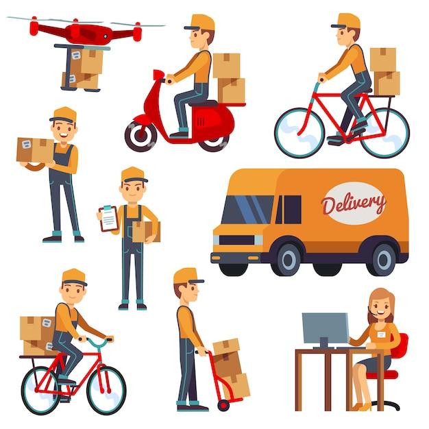Nette karikaturkurierzeichen mit anlieferungskasten. lieferung per drohne, roller, fahrrad. Premium Vektoren