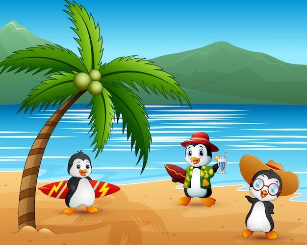 Nette karikaturpinguine in den sommerferien Premium Vektoren