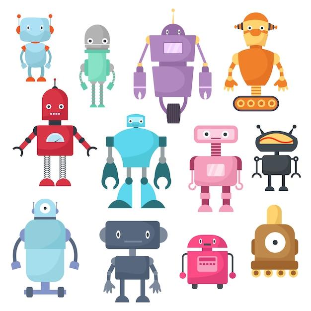 Nette karikaturroboter, android und raumfahrer cyborg lokalisierten vektorsatz Premium Vektoren