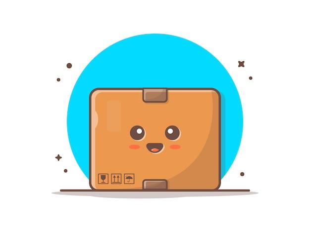 Nette kasten-maskottchen-ikonen-illustration Premium Vektoren