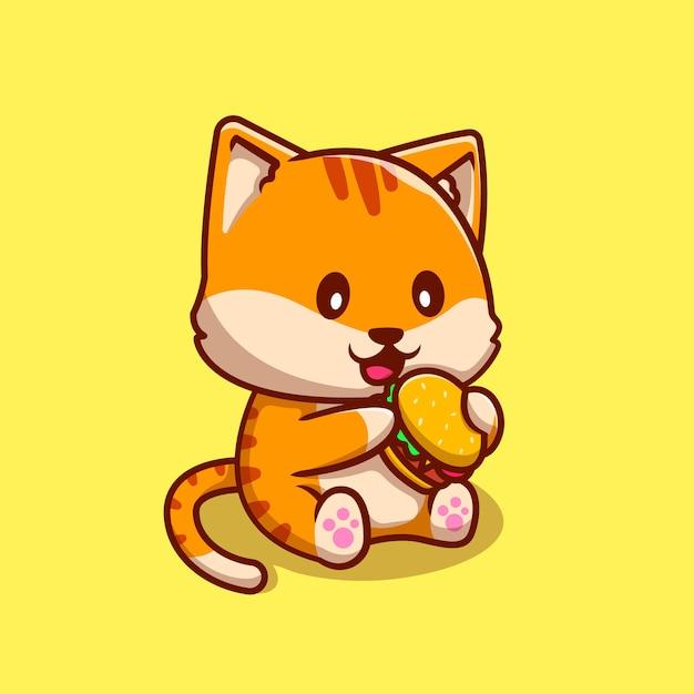 Nette katze, die burger cartoon icon illustration isst. tierfutter-symbol-konzept isoliert. flacher cartoon-stil Premium Vektoren