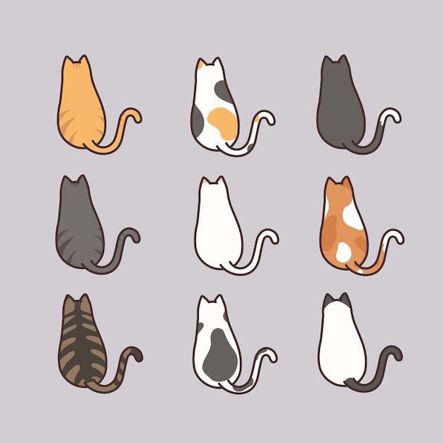 Nette katze, die hinteren ansichtsatz sitzt Premium Vektoren