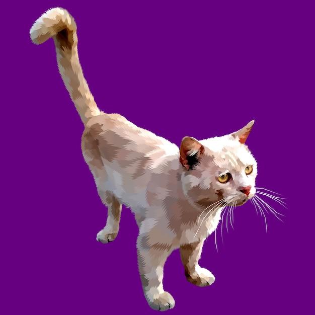Nette katze, die oben auf einem purpurroten hintergrund lokalisiert schaut Premium Vektoren