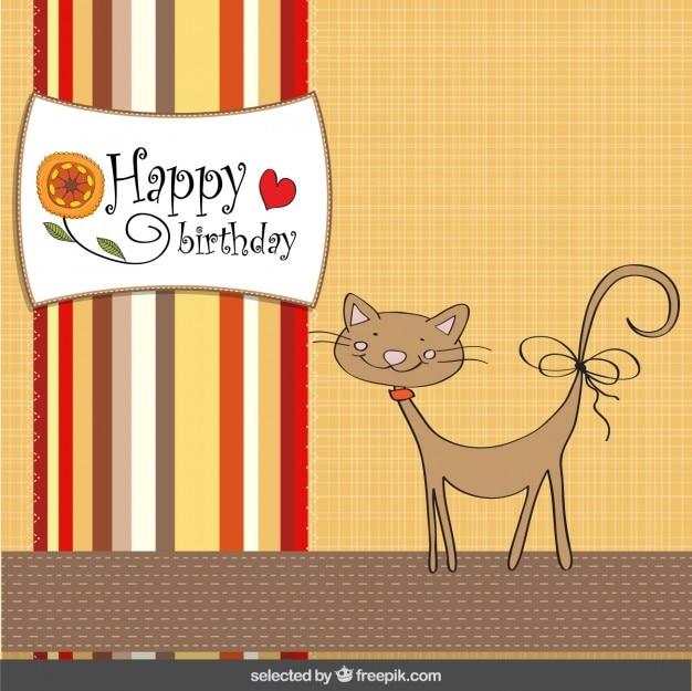 Nette Katze Geburtstagskarte in Scrapbook-Stil | Download der kostenlosen Vektor