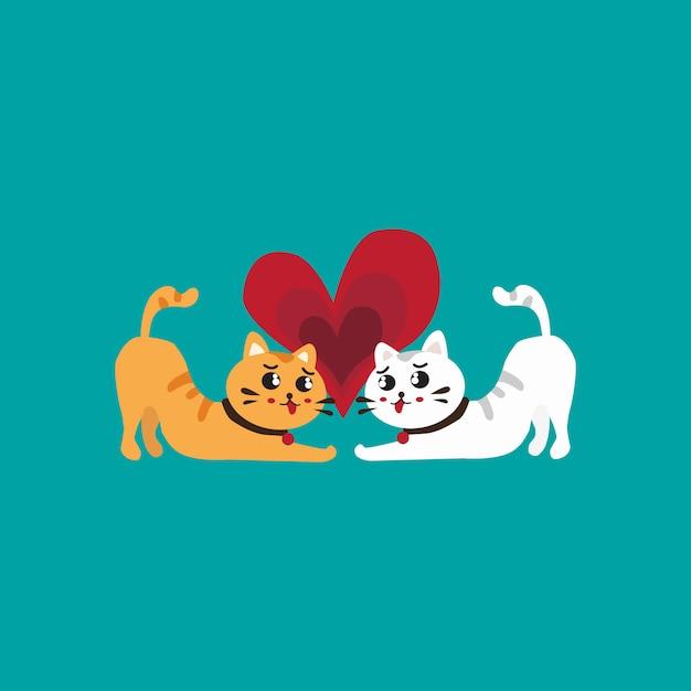 Nette katzen im liebesvalentinsgruß-tagesvektor Premium Vektoren