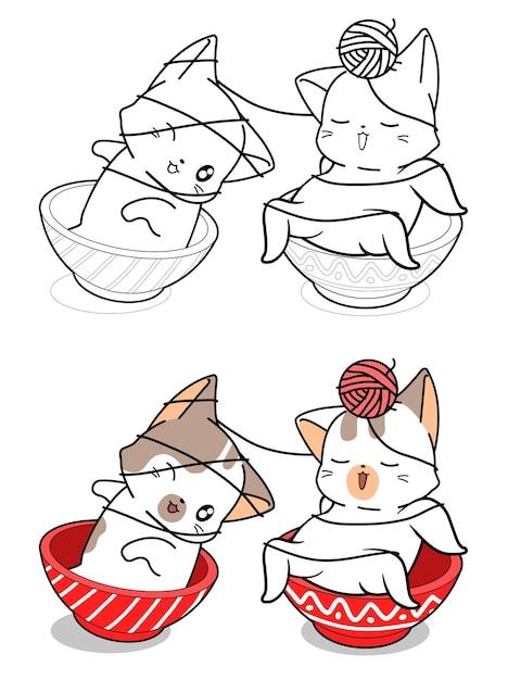 nette katzen in der schüssel spielen garnkarikatur
