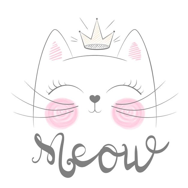 Nette katzen miauen illustration. lustige prinzessin und krone für print-t-shirt. handgezeichnete stil. Premium Vektoren
