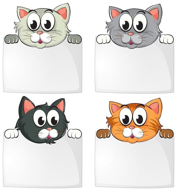 Nette katzen mit leeren papieren Kostenlosen Vektoren