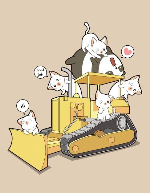 Nette katzen und panda auf traktor Premium Vektoren
