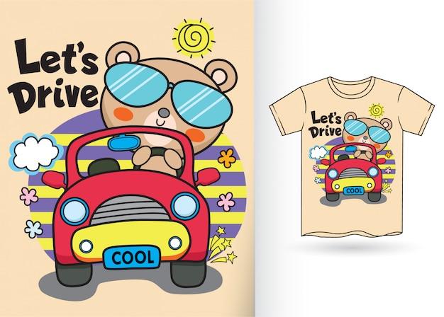 Nette katzenkarikaturillustration für t-shirt Premium Vektoren