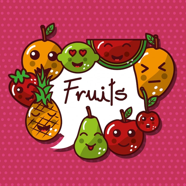 Nette kawaii früchte stellten lächelndes gesundes lebensmittel ein Premium Vektoren