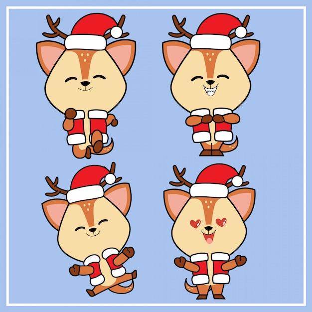 Nette kawaii hand gezeichneter rotwild-charakter mit weihnachtshut-sammlung Premium Vektoren