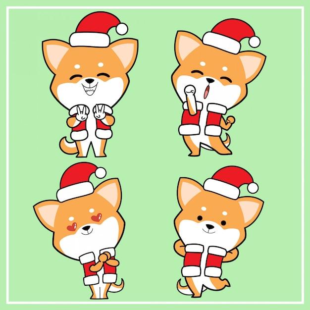 Nette kawaii hand gezeichneter shiba inu hundecharakter mit weihnachtshut-sammlung Premium Vektoren