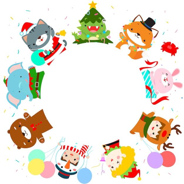 Nette kinder und tier im weihnachtskostümhintergrund. bereit für deinen text. Premium Vektoren