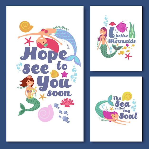Nette kinderseevektorkarten. einladungen der marinekinder mit lustigen meerjungfraumädchen Premium Vektoren
