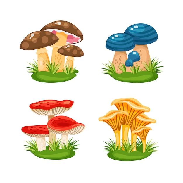 Nette kleine familien von pilzen im gras auf weißer hintergrundvektorillustration Kostenlosen Vektoren