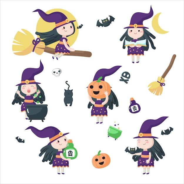 Nette kleine halloweenhexen isolierte illustration Premium Vektoren