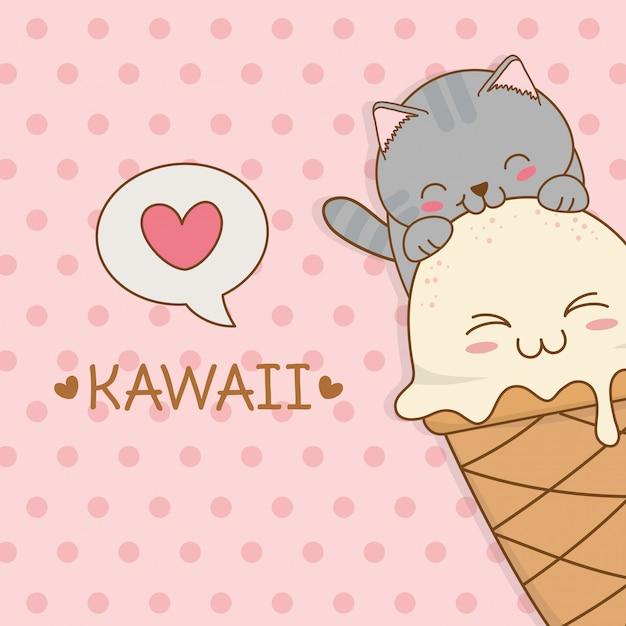 Nette kleine katze mit kawaii charakter der eiscreme Premium Vektoren