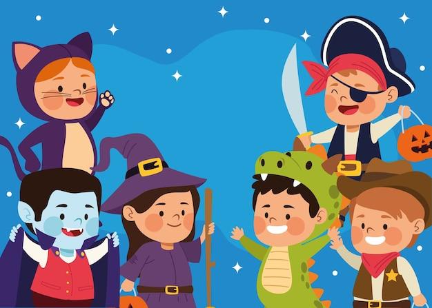 Nette kleine kinder, die als verschiedene zeichen am vektorillustrationsdesign der nachtszene gekleidet werden Premium Vektoren