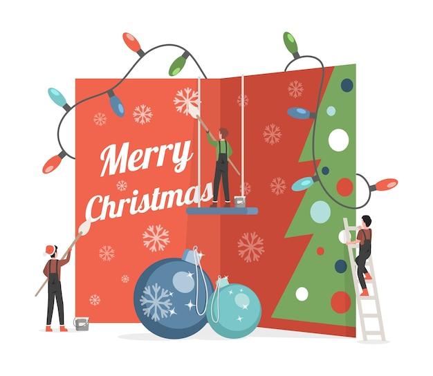 Nette kleine leute, die große einladungskarte mit frohe-weihnachten-wortillustration malen und verzieren. Premium Vektoren