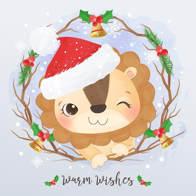 Nette kleine löwenillustration für weihnachtsgrußkarte Premium Vektoren