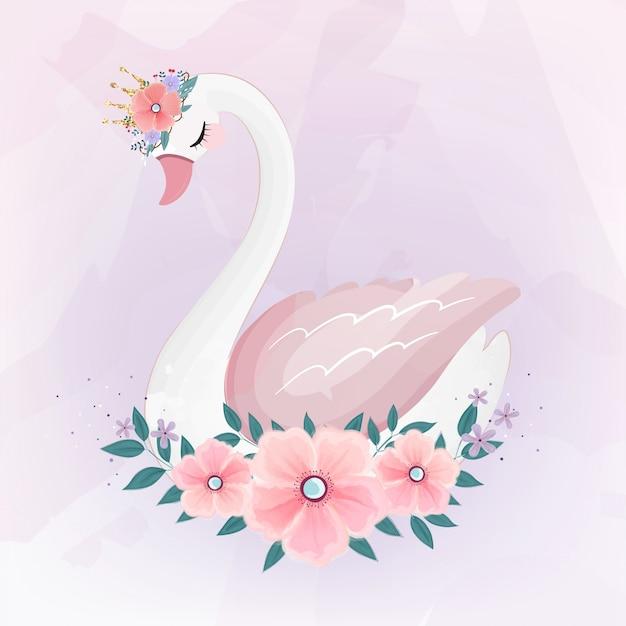 Nette kleine prinzessin swan mit blumenstrauß. Premium Vektoren