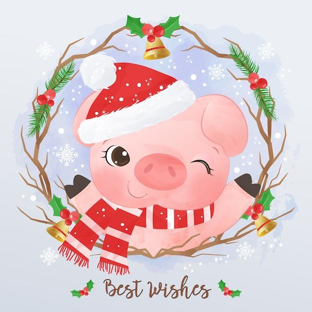 Nette kleine schweinillustration für weihnachtsgrußkarte Premium Vektoren