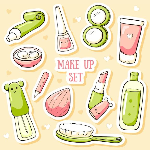 Nette kosmetikaufkleber Premium Vektoren