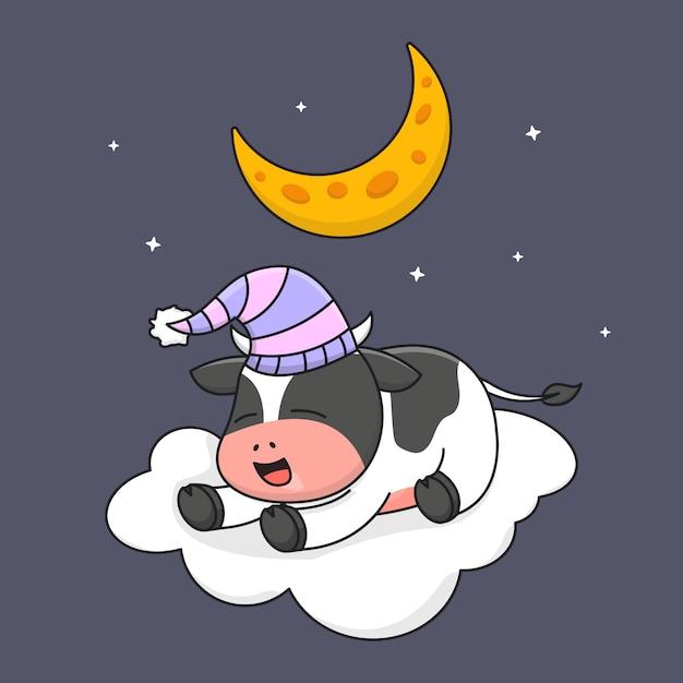 Nette kuh, die auf wolke schläft Premium Vektoren