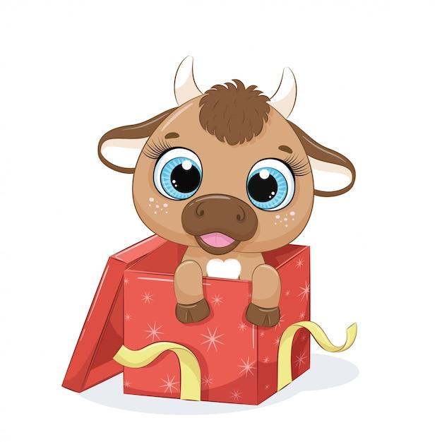 Nette kuh in geschenkbox. Premium Vektoren