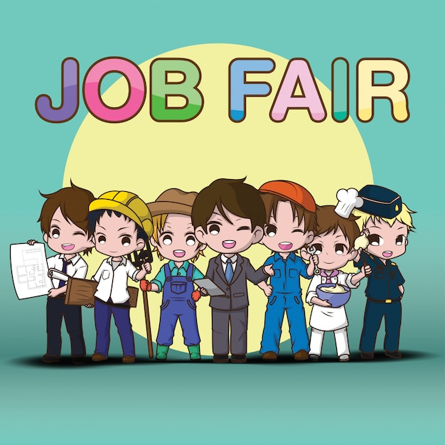 Nette kunstarbeit job fair cartoon. Premium Vektoren