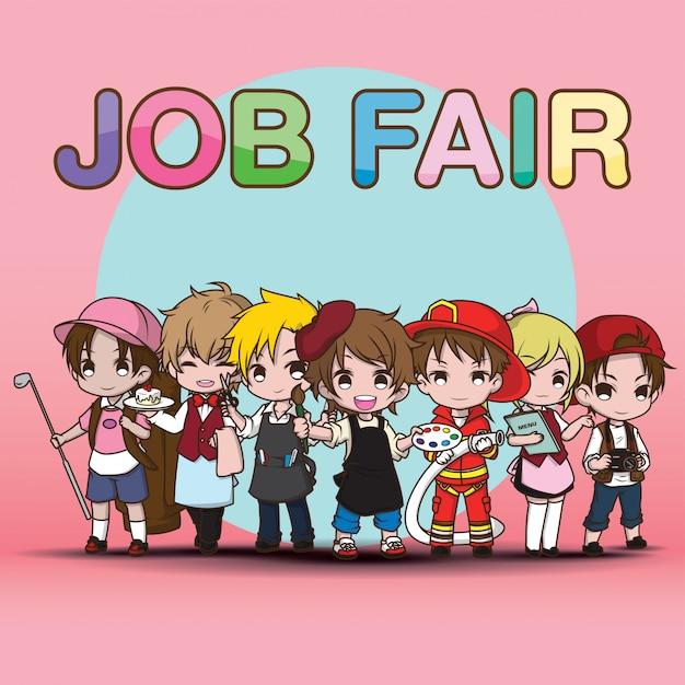 Nette kunstarbeit job fair cartoon. Premium Vektoren