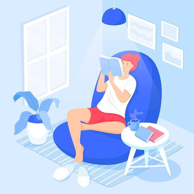 Nette lächelnde dame, die im bequemen sessel sitzt und fiktionsbuch liest Kostenlosen Vektoren