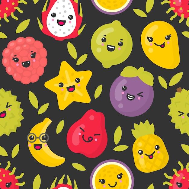Nette lächelnde exotische früchte, nahtloses muster auf dunklem hintergrund. am besten für textilien, geschenkpapier Premium Vektoren