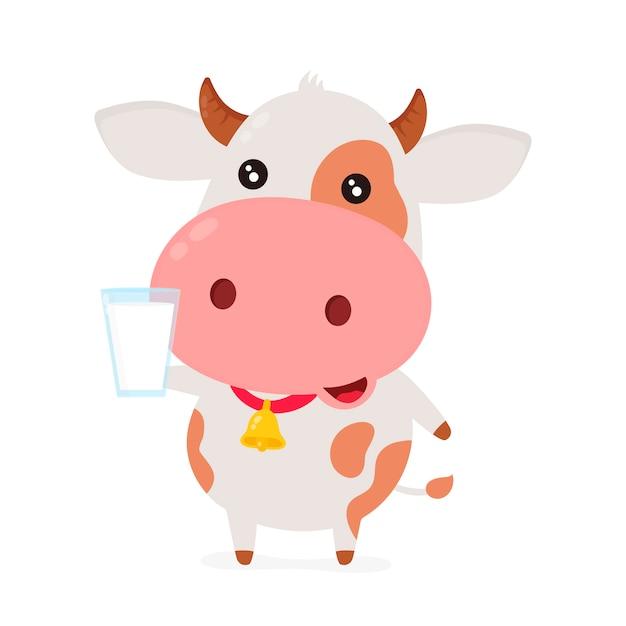 Nette lächelnde glückliche lustige kuh mit glas milch. Premium Vektoren