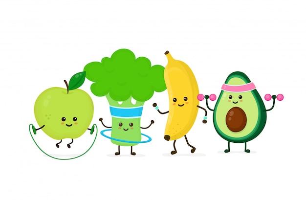 Nette lächelnde glückliche starke avocado machen turnhalle mit dummköpfen, apfelsprung mit seil, bananenbetrieb, brokkoli mit hula band. flache cartoon charakter illustration icon.gym, fitness ernährung Premium Vektoren