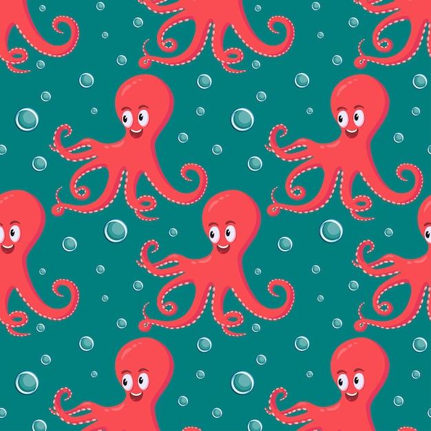 Nette lächelnde rote krake, die unter wasser schwimmt Premium Vektoren